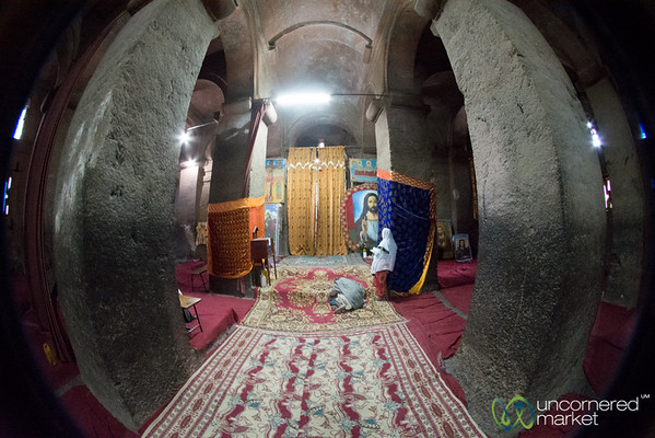 Fisheye View Inside Biete Medhane Alem Church - Lalibela, Ethiopia