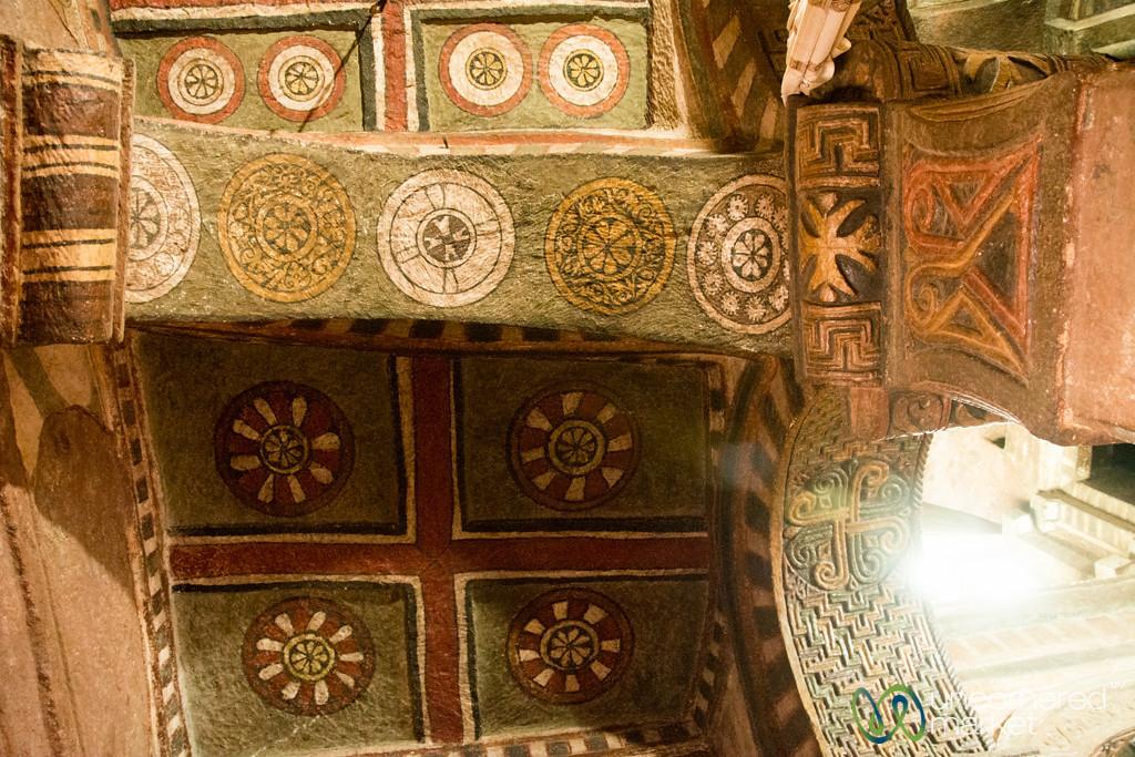 Painted Ceiling of Bet Maryam (Mary Church) - Lalibela, Ethiopia