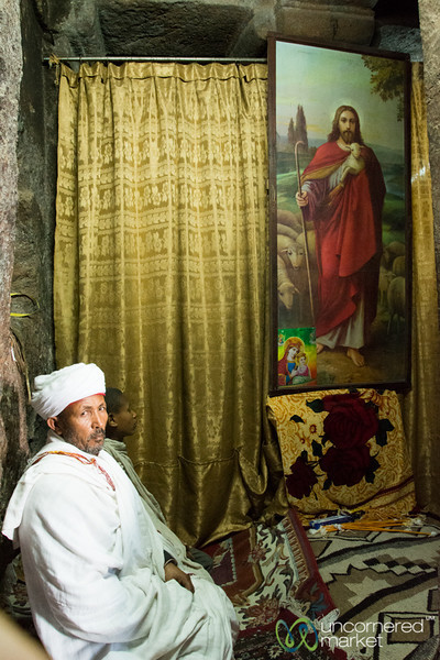 Ethiopian Priest in a Lalibela Rock Hewn Church - Ethiopia