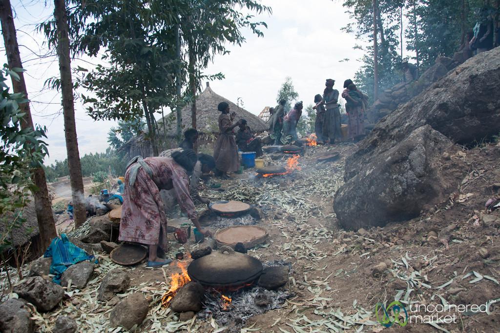 Cooking Injera (Ethiopian Flatbread) for Wedding - Lalibela, Ethiopia