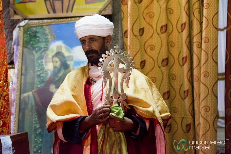 Ethiopian Priest at Biete Medhane Alem Church - Lalibela, Ethiopia