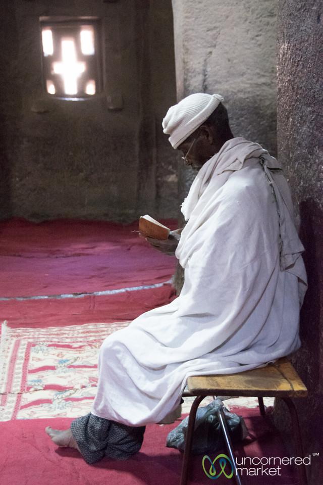 Studying Inside Biete Medhane Alem Church - Lalibela, Ethiopia