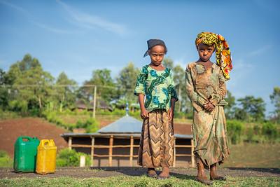 Two ethiopian girls going for water near Addis Ababa, Ethiopia