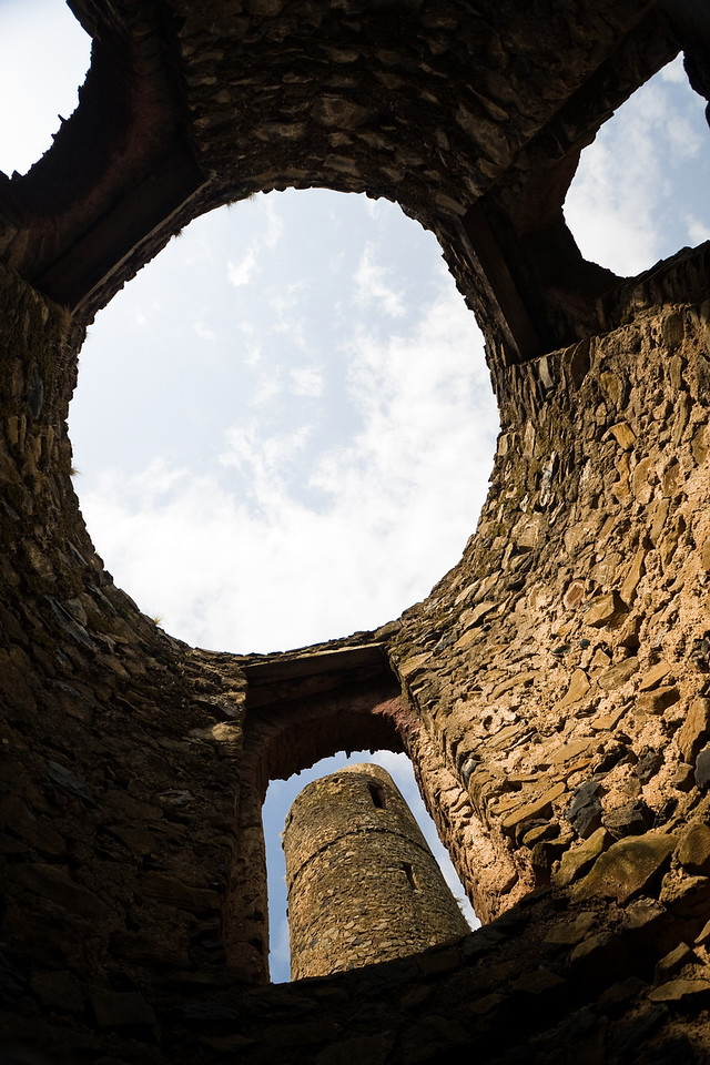 Looking up while inside one of the ruined towers.<br /> <br /> Location: Gondar, Ethiopia<br /> <br /> Lens used: 10-22mm f3.5-4.5