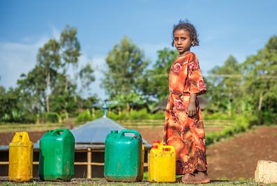 Ethiopian girl going for water near Addis Ababa, Ethiopia