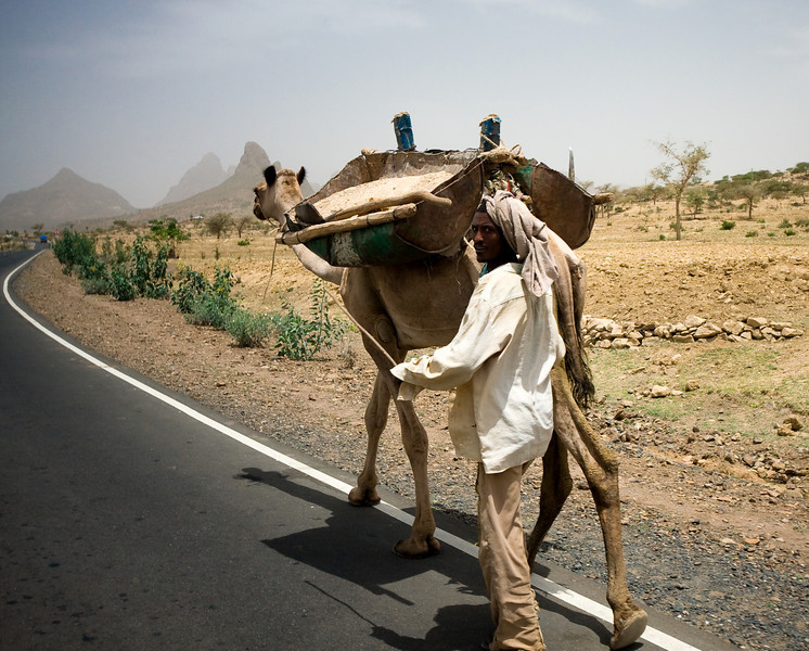 A man walks his camel down the shoulder of a brand-new stretch of highway.<br /> <br /> Location: Tigray region, Ethiopia<br /> <br /> Lens used: 10-22mm f3.5-4.5