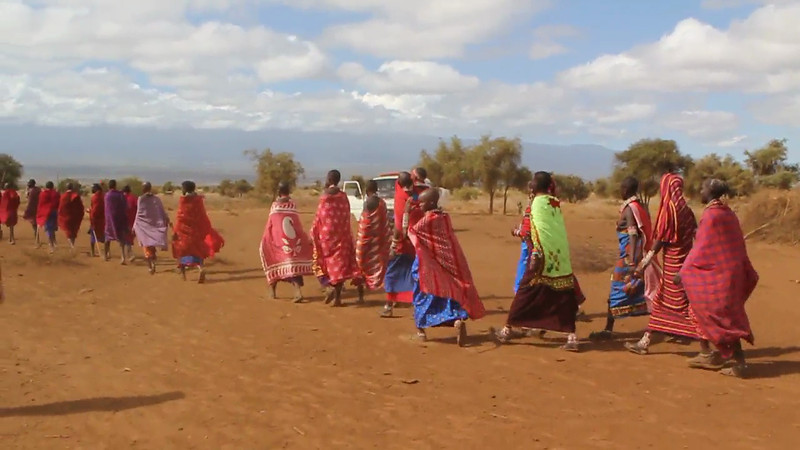 A traditional wedding ceremony celebration performed by the Masai.
