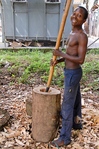 Hollowing out the wood to make a drum...