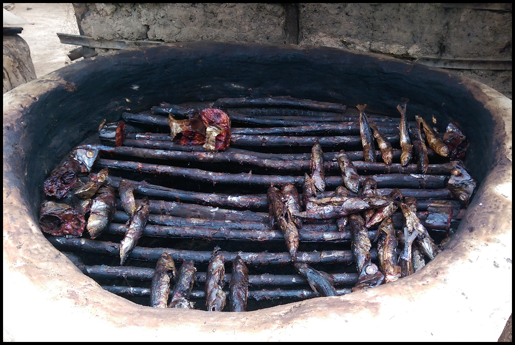 Smoked fish is common in Busua