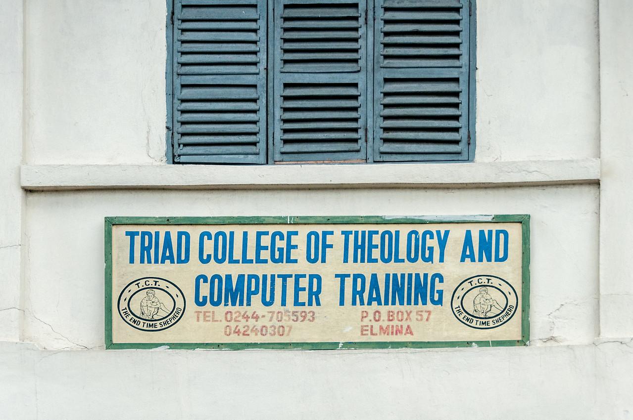 Sign at a college in Takoradi, Ghana