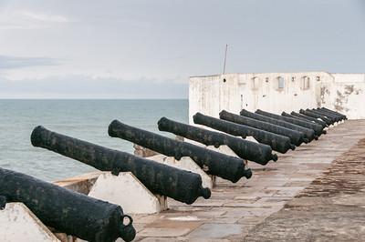 Cannons in Cape Coast Castle in Takoradi, Ghana
