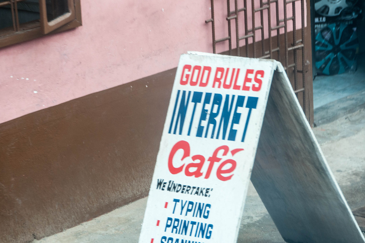 Internet cafe sign at Takoradi, Ghana
