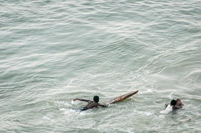 Kids swimming in Takoradi, Ghana