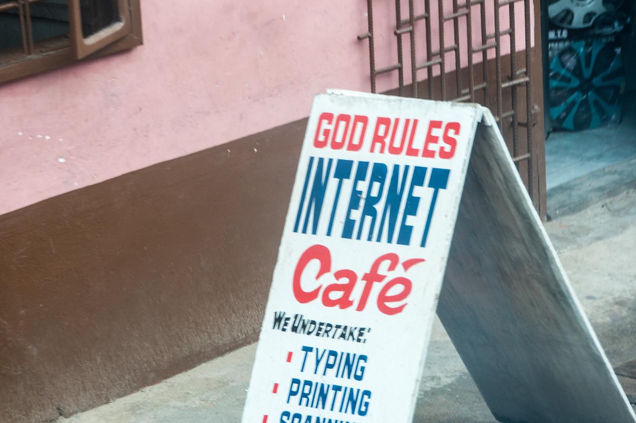 Internet cafe sign in Takoradi, Ghana