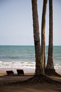 BRENU AKYINIM, GHANA - OCTOBER, 2006: Sunchairs at a beach resort. The fishing village of Brenu-Akyinim is located 10 km west of Elmina and features a long palmfringed sandy beach often packed with fishermen and their boats.  ( Photo by: Christopher Herwig)