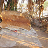 Bed for a Hadzabe person. This one is made from the skin of an impala. The Hadzabe are nomadic. They move their campsites during the year through their territory, to the best areas seasonally to hunt and forage for food. Lake Eyasi, Tanzania