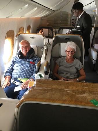 Marcia and Steve enjoying flight to Johannesburg!