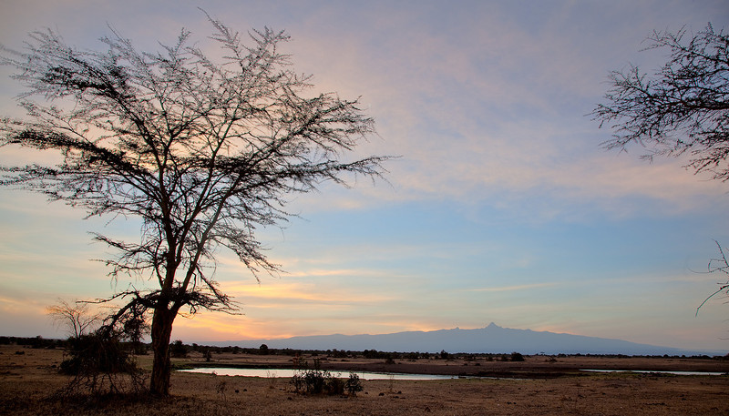 Sunrise at Sweetwaters with Mount Kenya at the back