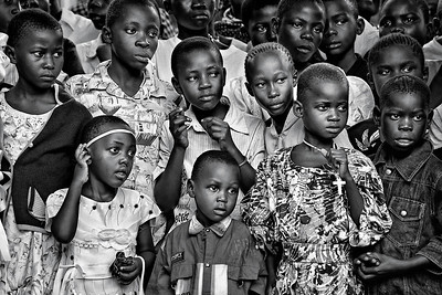 Rapt attention. Children at religious celebration. Ukwala, Kenya