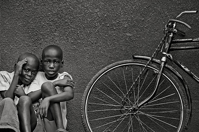 Boys and bicycle. Ukwala, Kenya