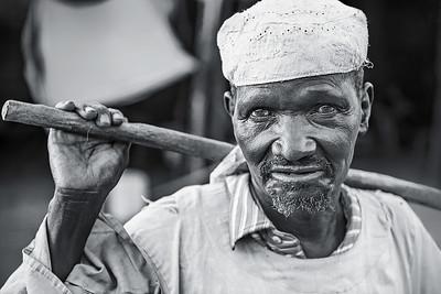 Sudanese man with walking staff. Gendrassa, Maban County, Republic of South Sudan