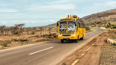 African bus travelling from Arusha to Namanga, Tanzania