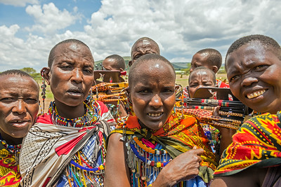 Group of Maasai people with traditional jewelry in Kenya