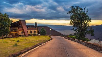 Entrance to the luxury Ngorongoro Wildlife Lodge viewed at sunset