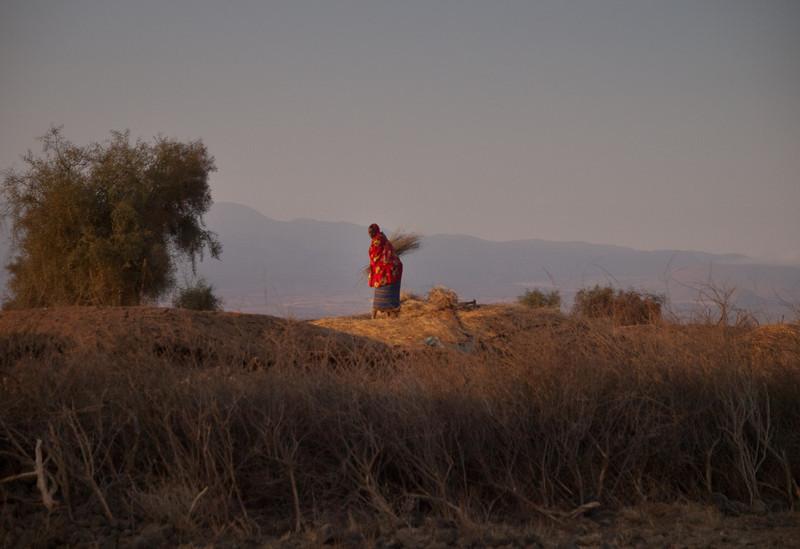 Masai woman repairing her thatch roof.
