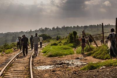The railroad tracks in Kibera, Nairobi, Kenya