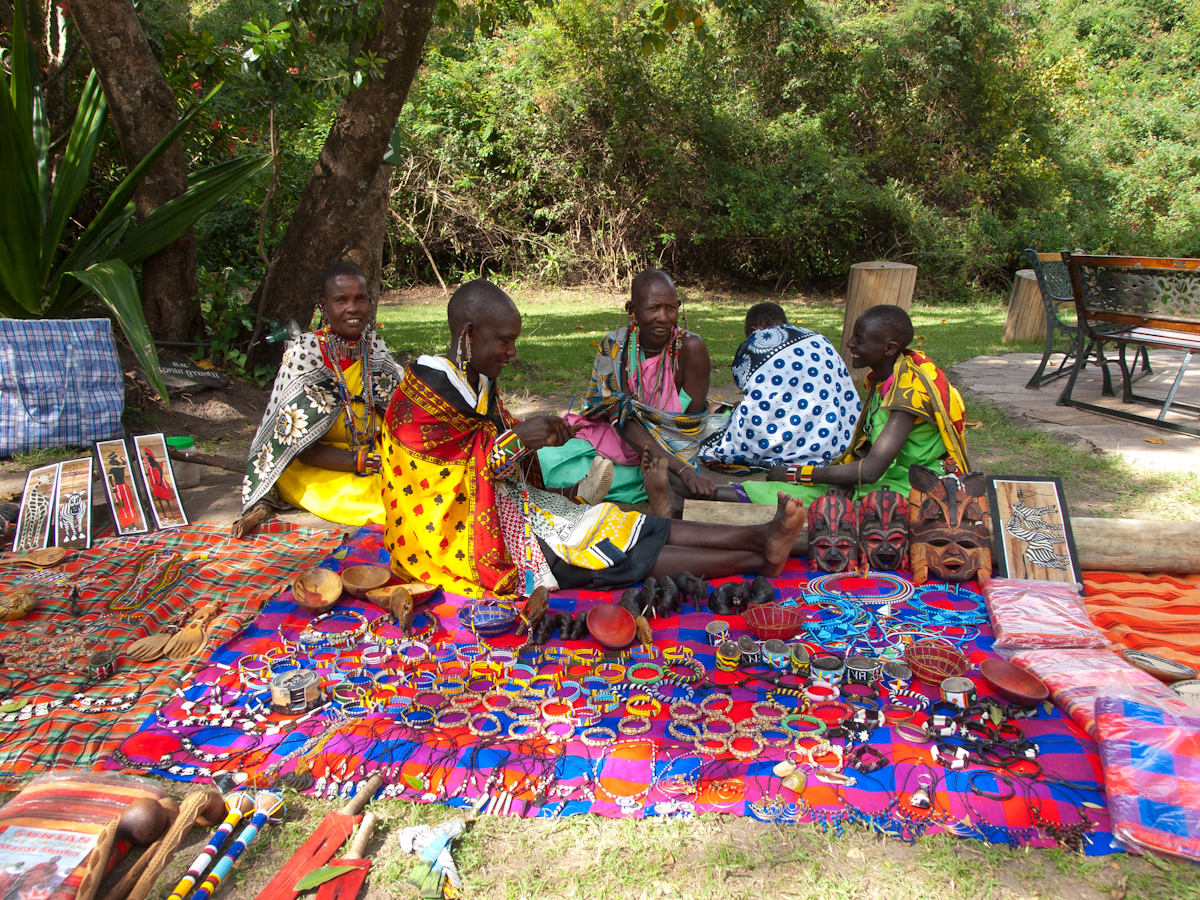Masai women selling their wares.