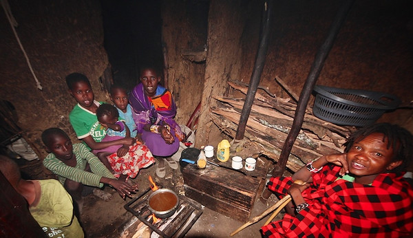 Inside the hut with Lanet and his family