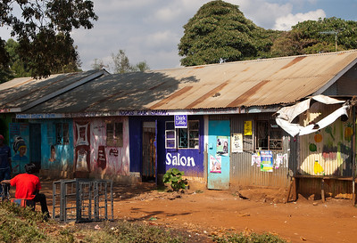 Nairobi area street scene captured from our vehicle.