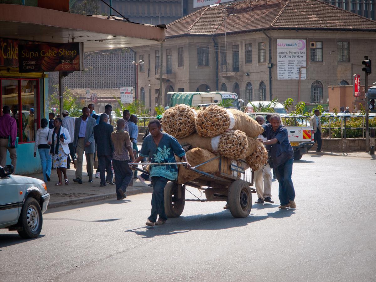 Street scene in Nairobi.  A cart load of potatoes.