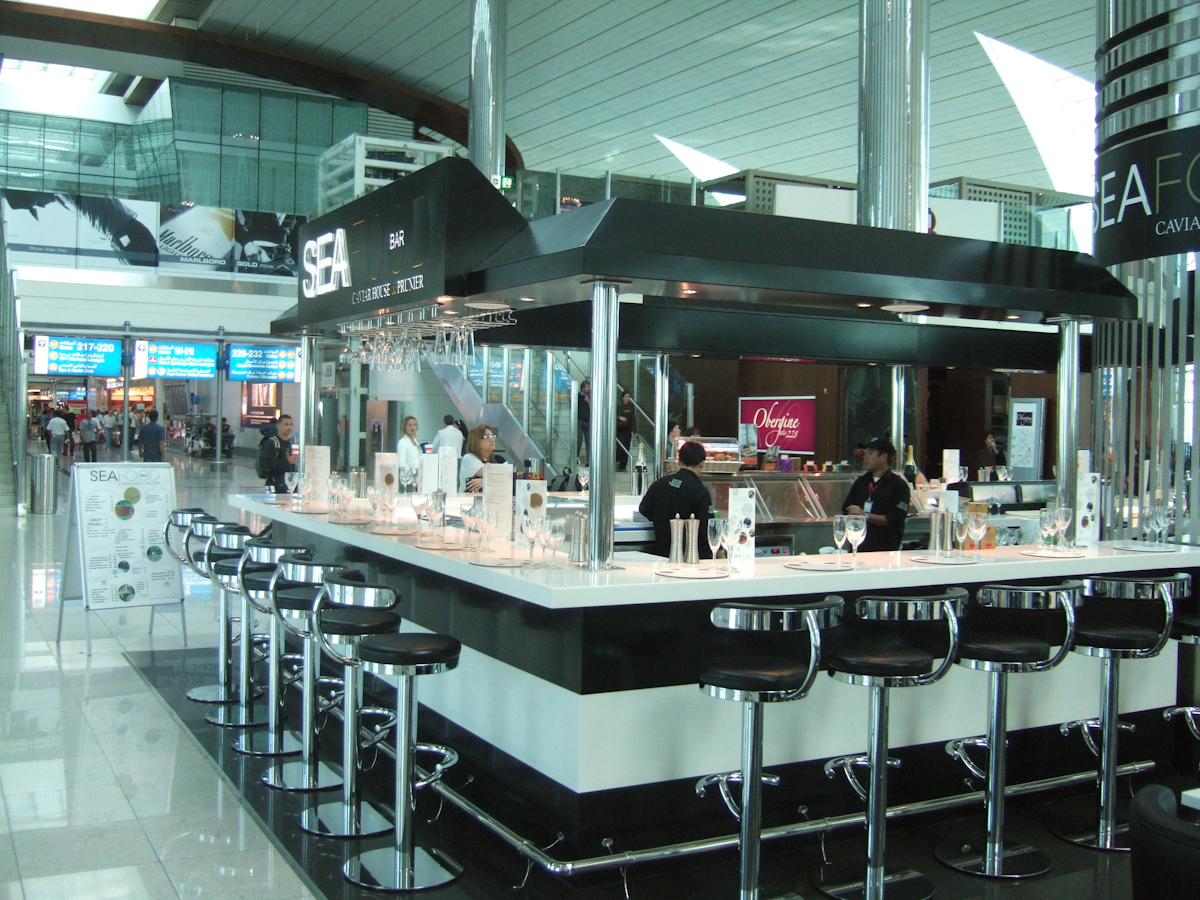 Dubai International Airport.  Seafood bar.