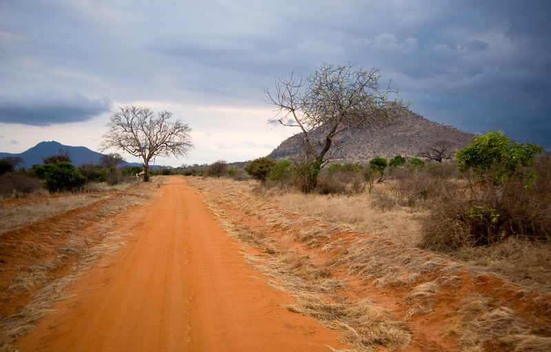 The infamous red dust of Tsavo contrasts nicely with, well, most everything.  Here, it's darker clouds in the evening time.<br /> <br /> Location: Tsavo East National Park, Kenya<br /> <br /> Lens used: 10-22mm f3.5-4.5