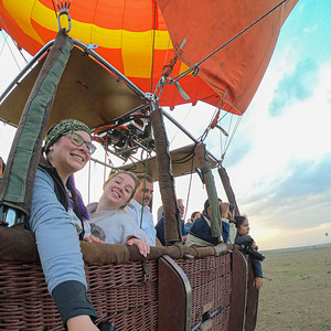 In a hot air balloon over the Maasai Mara