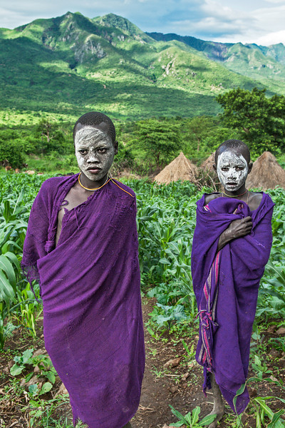 Two young Surma in maize field