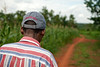 Village rounds, rural health initiative. Thomas Sadimba walking one of the many village paths throughout Ugenya to check on remote or home-bound HIV/AIDS clients under his watch. Ugenya, Kenya