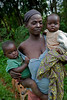 Mother and two children. Rural health initiative. Ugenya, Kenya