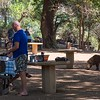 Traveling east in parallel with the river, we stopped at a very nice picnic ground.  A local warthog was browsing among the tables....