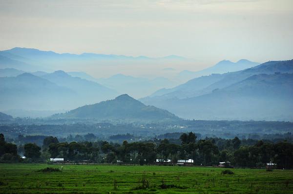 Rwanda mountains in morning