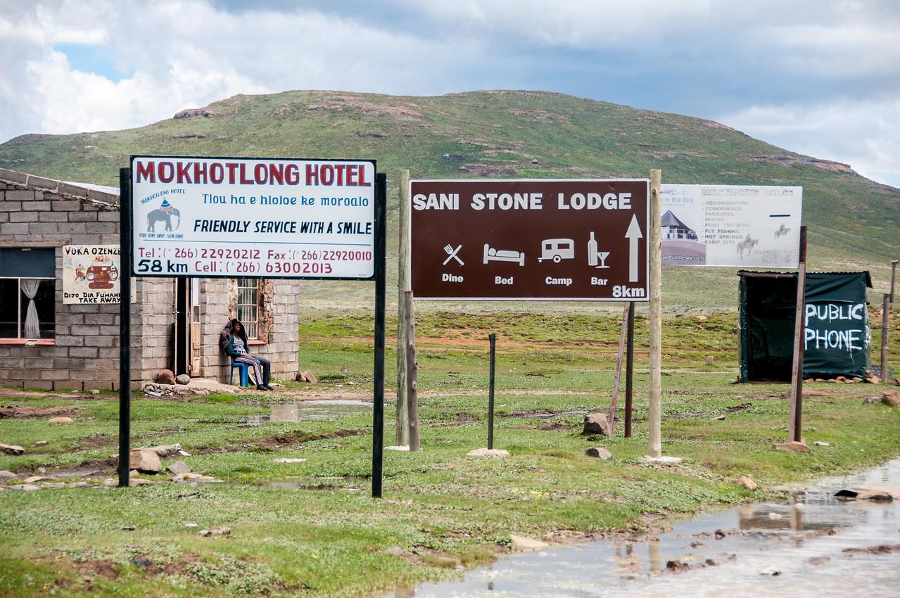 Hotel signs at the Sani Pass, Lesotho