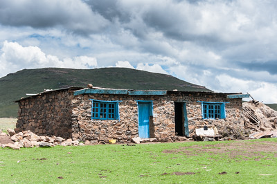Traditional stone building in the Sani Pass, Lesotho
