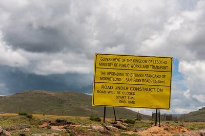 Road construction sign at the Sani Pass, Lesotho