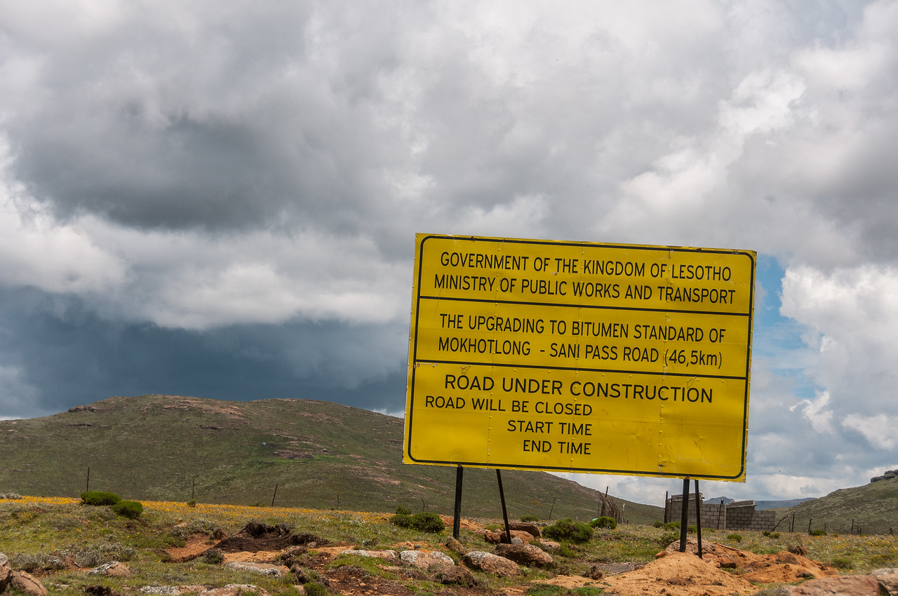 Road construction sign at the Sani Pass, Lesotho