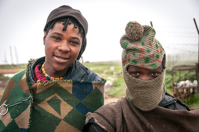 Local kids at the Sani Pass, Lesotho