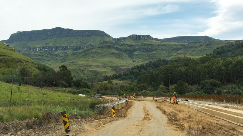 Starting up the road toward the Sani Pass entrance into Lesotho, we immediately ran into a large and messy construction zone....