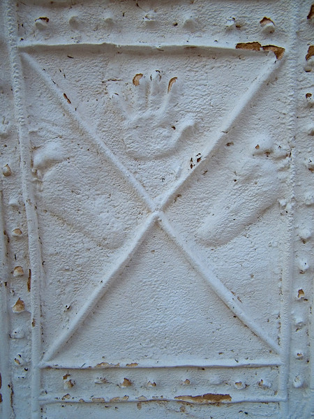 Decoration, Ghadames.  Hands are to be found everywhere here, but this was the only time I saw feet too.