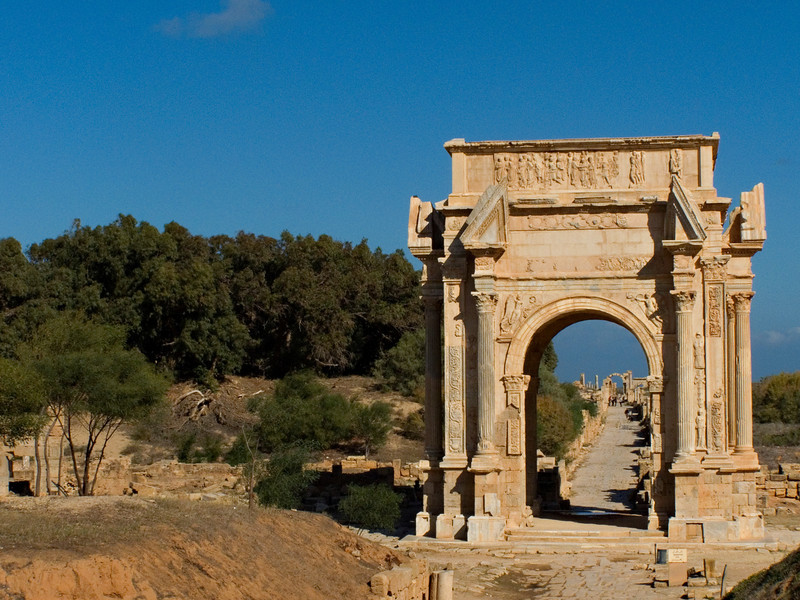 Arch of Septimius Severus, Leptis Magna.  Leptis Magna, on the coast east of Tripoli, is well worth an overnight stay.  It is among the most impressive larger Roman ruins I have seen anywhere, in part because Emperor Septimius Severus was born here, and ensured that it received lavish resources.